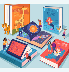 cute tiny people reading different giant books vector image