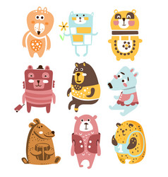 Cute toy bear animals collection of childish vector