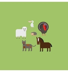 Different animals flat design icons set vector