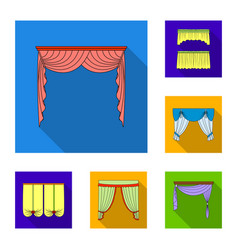 different kinds of curtains flat icons in set vector image