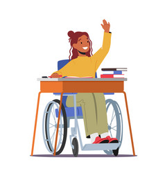 Disabled girl character in wheelchair sitting vector