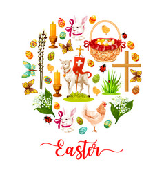easter round poster with holiday symbols vector image