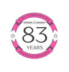 eighty three years anniversary celebration logo vector image