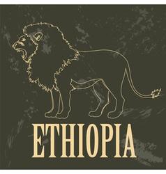 Ethiopia landmarks Retro styled image vector image