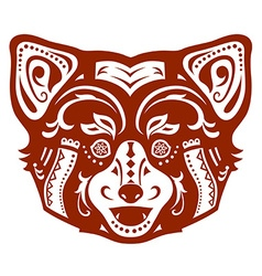 Ethnic ornamented red panda vector image