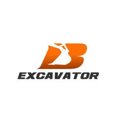 Excavator logo template - letter b vector