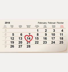february 14 2018 valentine s day calendar vector image