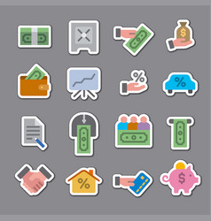 finance color stickers vector image