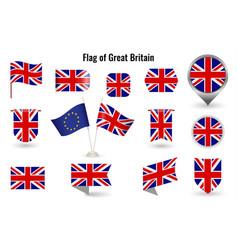 flag great britain big set icons vector image