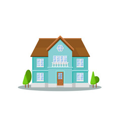 flat icon of three-storey house with big vector image