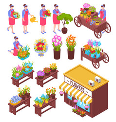 florist isometric elements set vector image