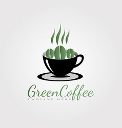 Green coffee logo design food and drink icon vector