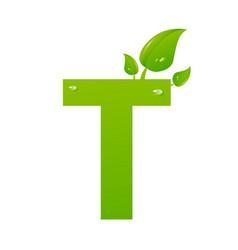 green eco letter t illiustration vector image