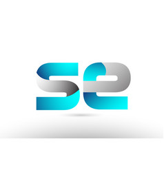 Grey blue alphabet letter se s e logo 3d design vector