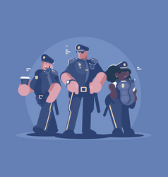 Group of police man and woman vector