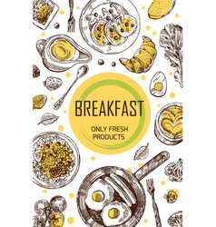Hand drawn breakfast is a vector
