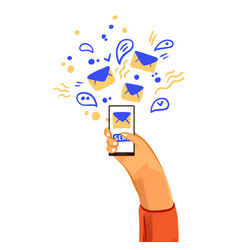 hand with phone cartoon vector image