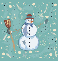 happy character of snowman on a cute winter vector image