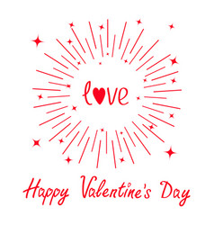 happy valentines day love word red heart round vector image