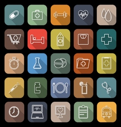 Health line flat icons with long shadow vector