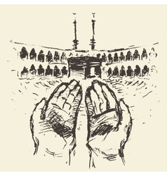Holy Kaaba Mecca Saudi Arabia praying hands drawn vector image