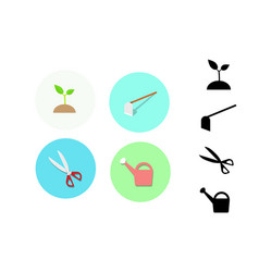 Icon for gardening plant hoe scissors watering vector