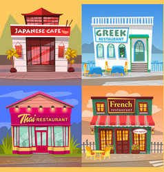 Japanese and greek cafe thai and french cuisine vector
