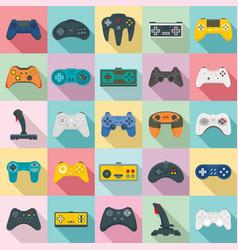 joystick icons set flat style vector image