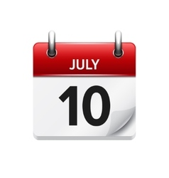 July 10 flat daily calendar icon Date vector