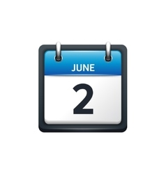 June 2 Calendar icon flat vector
