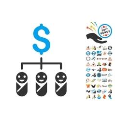 Kid Budget Icon With 2017 Year Bonus Symbols vector