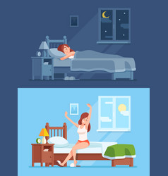 Lady sleeping under duvet at night waking up in vector
