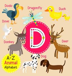 Letter d tracing deer dodo dog donkey dove vector