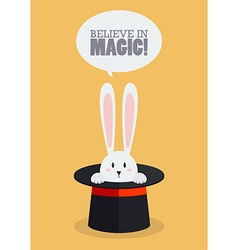 Magic top hat with rabbit vector