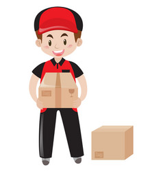 mailman delivering two packages vector image