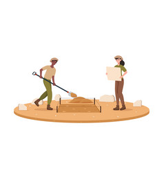 Male and female archaeologists digging out vector