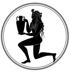 Man knee on land holding an amphora wearing crown vector