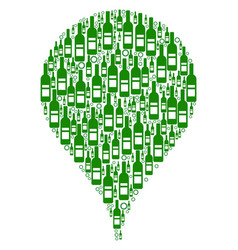 Map pointer mosaic of wine bottles vector