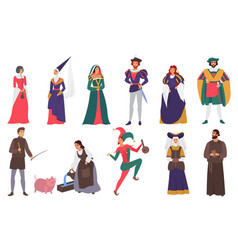 Medieval people flat set vector