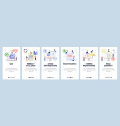 Mobile app onboarding screens digital and seo vector