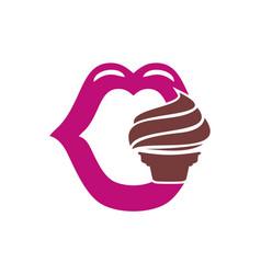 mouth ice cream logo icon vector image