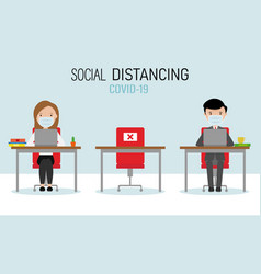 Office with social distance between workers vector