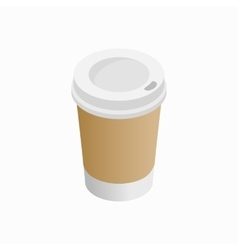 Paper cup of coffee icon isometric 3d style vector