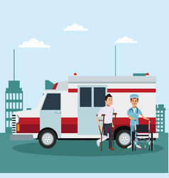 Patient with nurse outside hospital vector