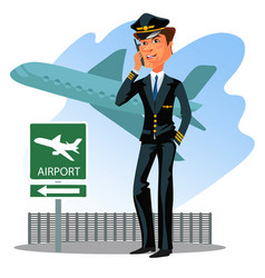 Pilot wear uniform with tie talking by phone vector