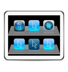 Pixel arrow blue app icons vector image