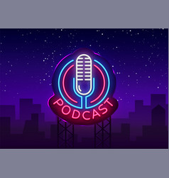Podcast neon sign design template podcast vector