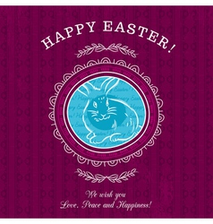 Purple greetings card for Easter Day with rabbit vector image