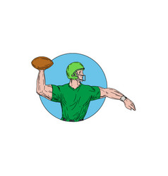 quarterback qb throwing ball circle drawing vector image