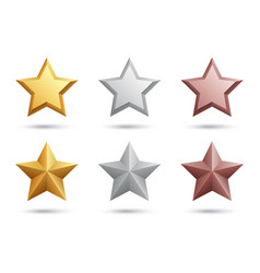 realistic stars gold silver bronze stars isolated vector image